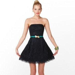 Lilly Pulitzer Marielle Black Lace Strapless Dress